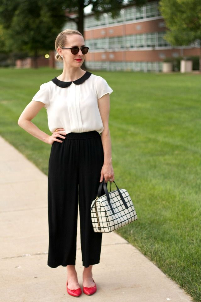 How to wear culottes with flats: ballerinas