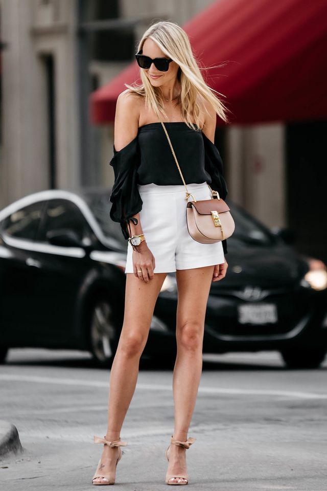 Cute casual date outfit with short pants, off shoulders blouse and high heels