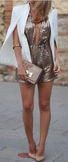 Stylish clubbing outfit with shorts