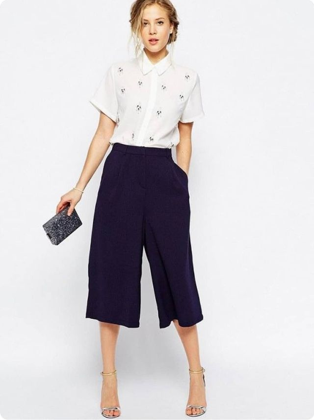 A beautiful white shirt paired with navy culottes