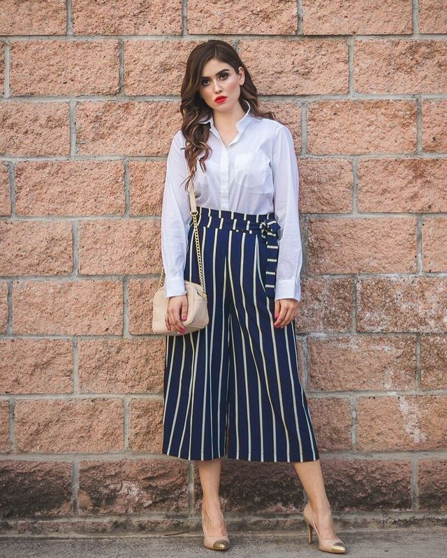 A beautiful white shirt paired with culottes with white strippes
