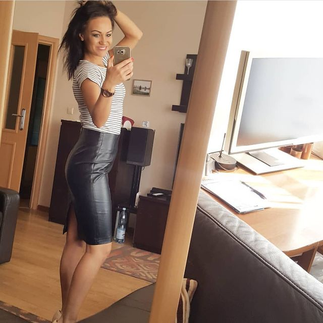 Leather skirt casual outfit