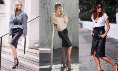 Black Leather Pencil Skirt Outfits