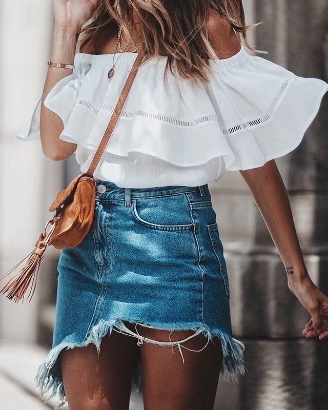 Summer outfits for teenage girl | Summer outfits with short jean skirt