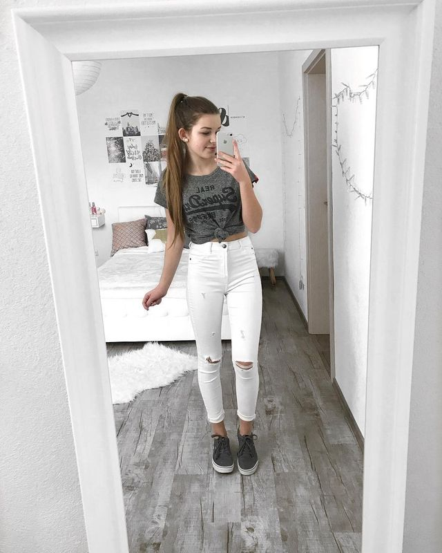Summer outfits for teenage girl | Outfits with white jeans