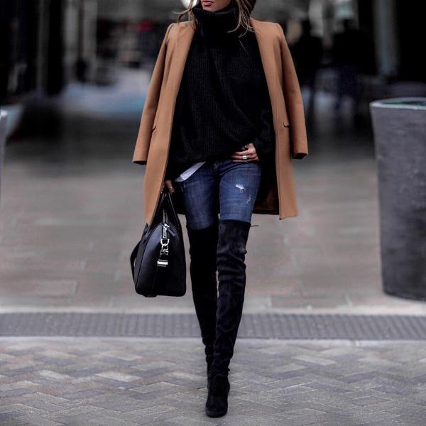 How to wear skinny jeans with a over knee boots