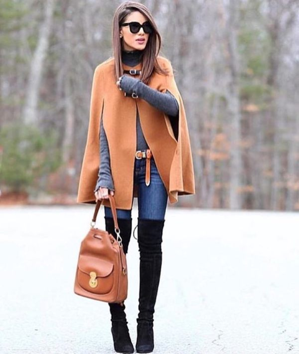 How to wear skinny jeans with over the knee boots and a large maroon coat