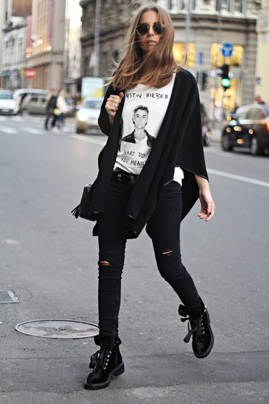 Cute outfits with skinny black jeans and ankle boots
