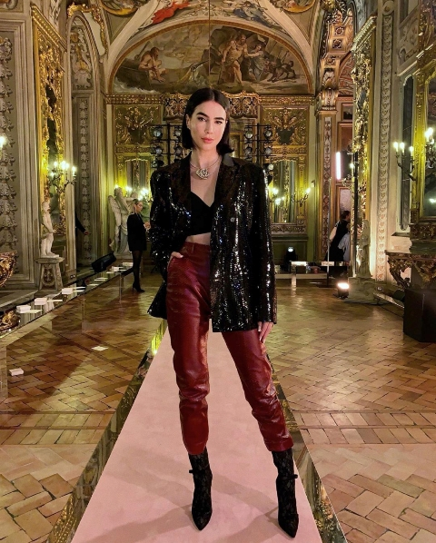 Winter club outfits with leather pants