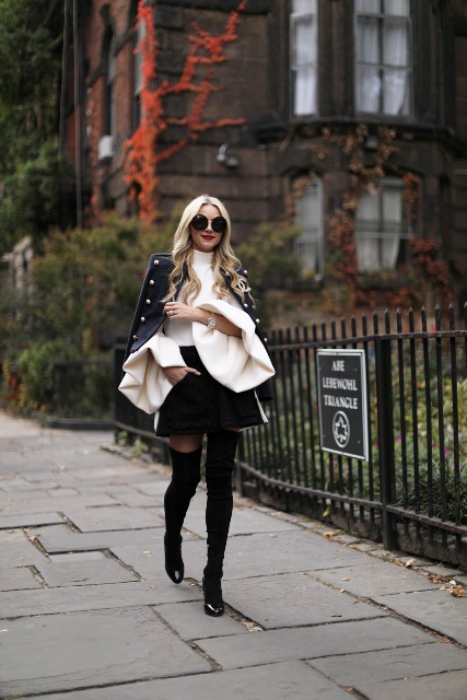 Winter club outfit with high knee boots