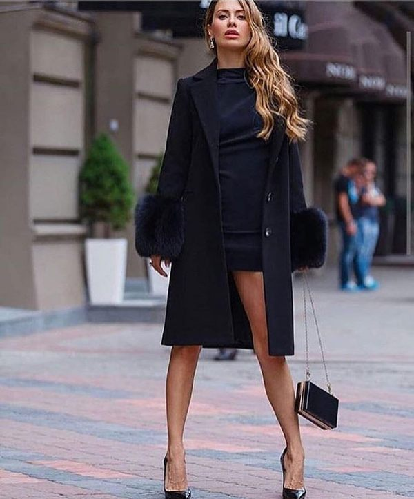 Dinner date outfits with black dress, long coat and high heels