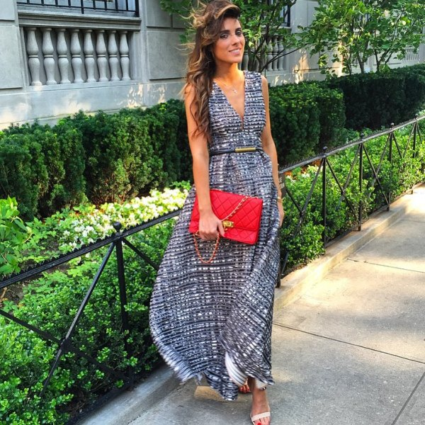 Dinner date outfit with a long dress
