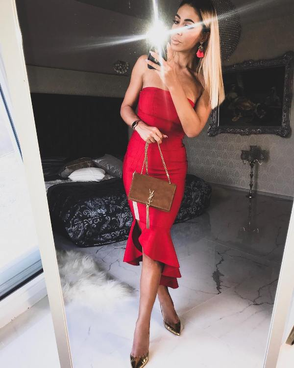 Red dress dinner date outfit
