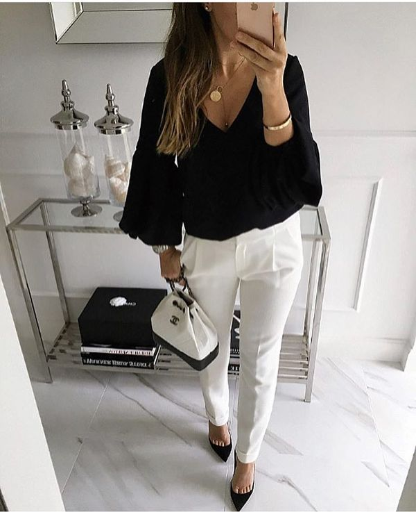 What to wear to a dinner date with white pants and a black blouse
