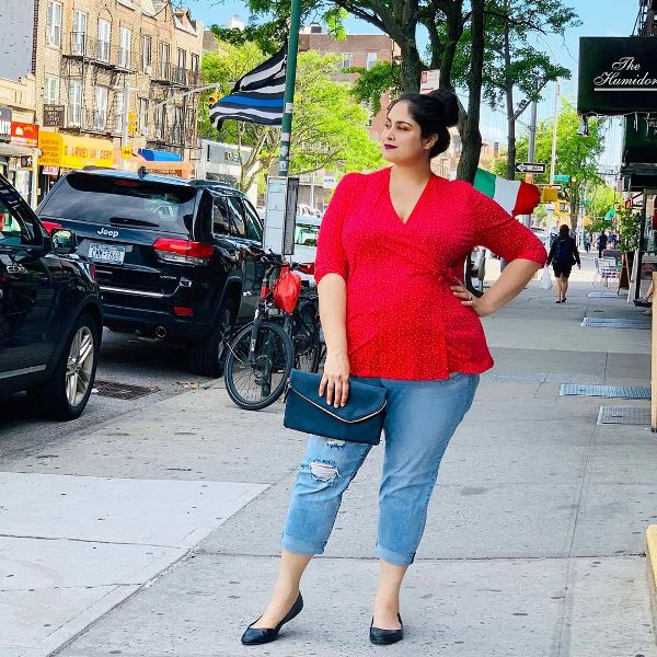 Plus Size Spring Outfit with red blouse
