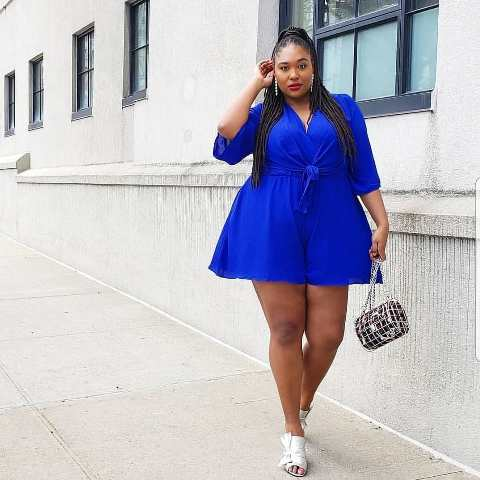 Plus size short outfit with rompers