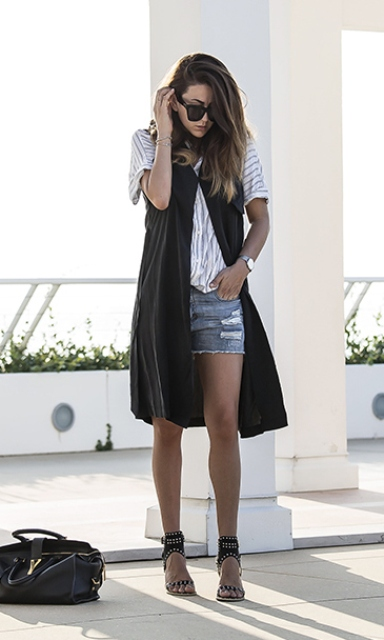 Denim shorts outfit with a long vest women