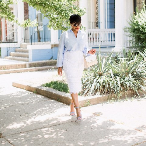 What to wear with a white long pencil skirt