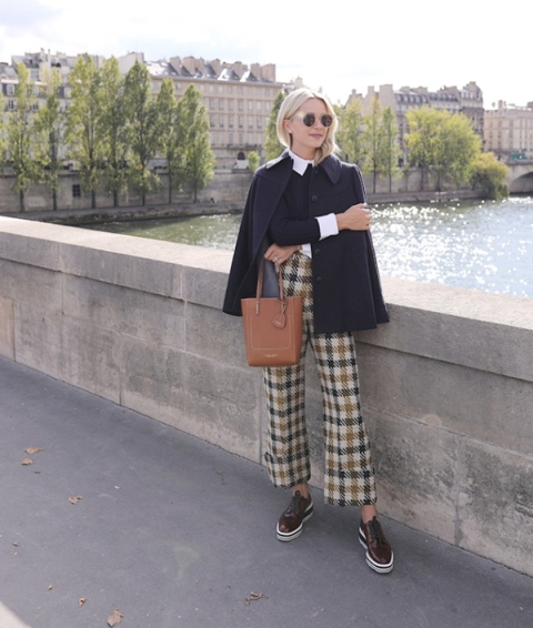 Outfits with oxford shoes to wear with culottes pants