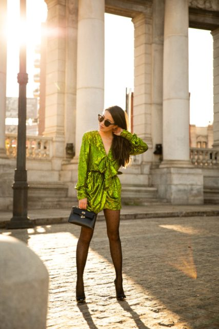 Winter club outfit with a green sequin dress