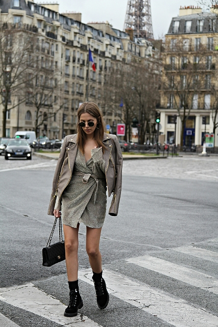 Winter clubbing outfits with a velvet dress and ankle boots