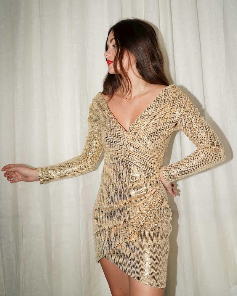 Winter clubbing outfit with a metallic dress