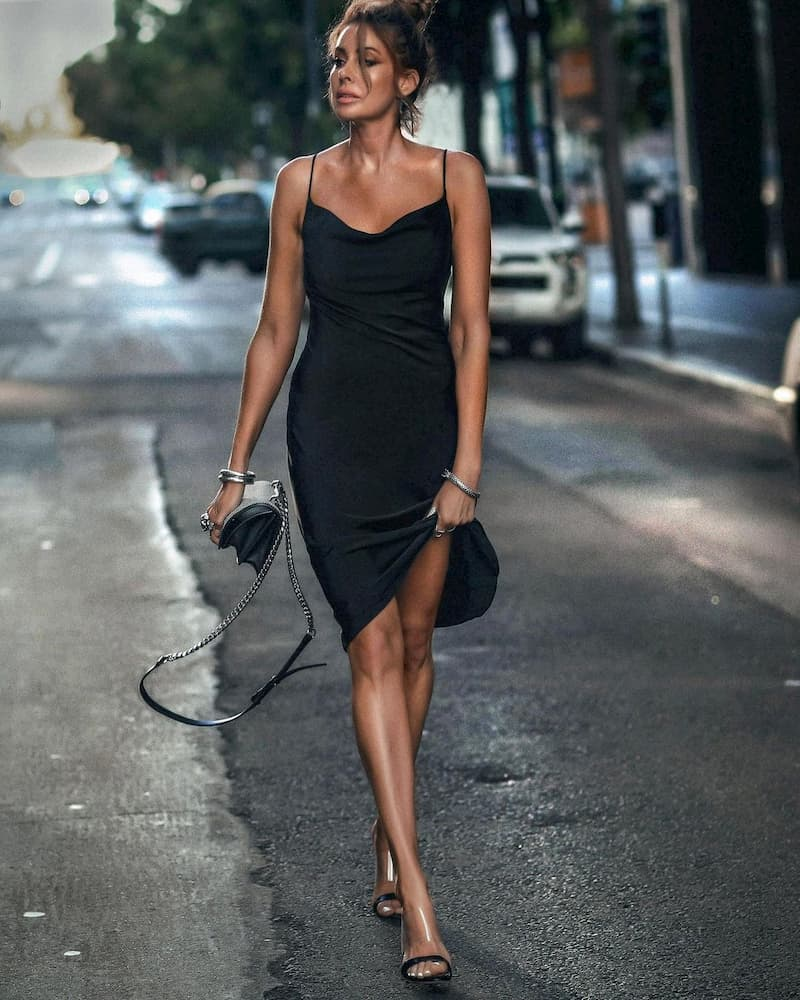 Dinner date outfit with a black slip dress